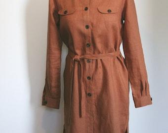 Linen shirt-dress brown with orange tinge for women