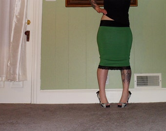 Emerald - A Green And Black Tiny Polka Dot Pencil Skirt