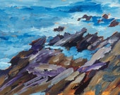 Rocks along the Pemaquid Loop rd Maine Acrylic on paper original painting  by Lynne Vokatis
