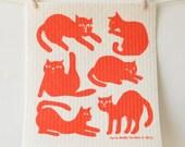 2 European Sponge Cloths: Cats, Indigo, Grey, or Burnt Orange