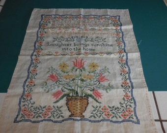 "Beautiful Vintage Embroidered SAMPLER ""Laughter Brings Sunshine Into The Home"" with Alphabet and Flowers - Free Shipping"