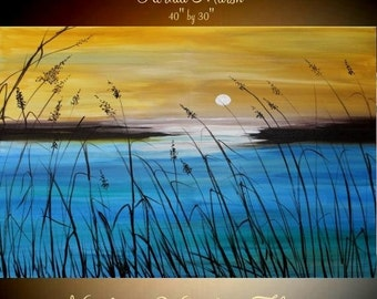 Original 40x30 gallery canvas Abstract Marsh Acrylic Oil painting,Original contemporary Art, Ready to hang  by Nicolette Vaughan Horner