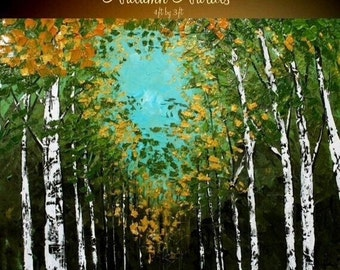 "HUGE Birch Trees Oil Landscape Abstract Original Modern 48"" palette knife oil  impasto oil painting by Nicolette Vaughan Horner"