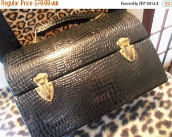 Christmas In July Sale Vintage Black Patent Leather Lunch Box Purse 1960's Faux Snake Skin Signed Stylemart Mad Men Mod Retro Rockabilly Acc
