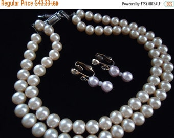 NOW ON SALE Vintage Faux Pearl Gold Beaded 2 Strand Demi Parure 1960's Necklace Earring Set Mad Men Mod Retro Chunky Wide Black Tie Jewelry