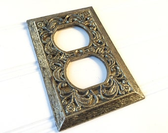 Decorative Metal Electrical Outlet Cover Plate - Switchplate Cover - Vintage Electrical Outlet Cover