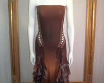 Vintage Ema Savahl Brown Srapless Ombre Dress with Side Laces - Size Small