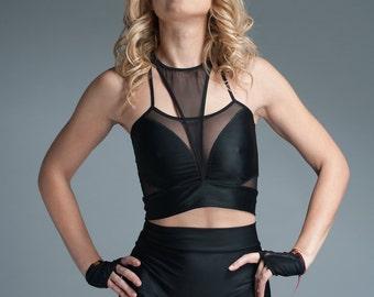 Mesh Crop Top - Crop Top - Womens Top Clubwear - Plus Sizes