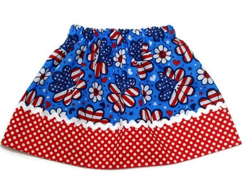 4th of July Girls Skirt Flower Power Red Polka Dot Size 6 - 12 months, 12 - 18 months, 2 / 3, 4 / 5, 6 / 7, 8 / 9