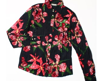 Vintage 90s Gerry Weber Black Red Tropical Floral Pleated Shirt UK 12 US 10