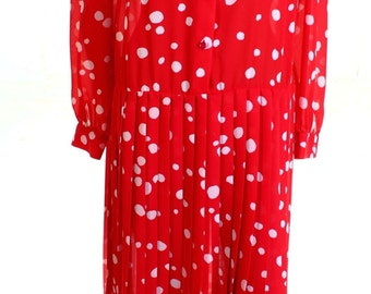 Vintage 80s Red Spotted Drop Waist Midi Dress UK 14 US 12