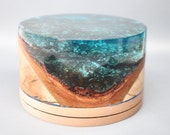 Handcrafted Natural Edege Wood Turning made from Cherry Bark & Maple Wood with a Clear Blue Resin Top - Collectible Art, Wedding Gift, Rare