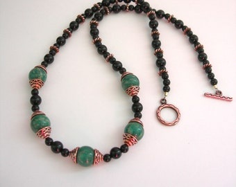 Russian Amazonite & Black Onyx Necklace