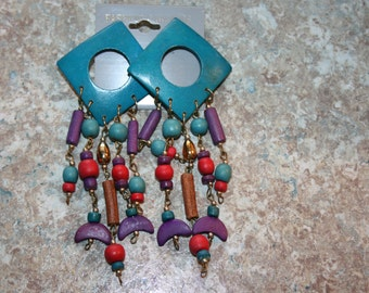 Vintage 70's Post Earrings - Teal, red, purple and anything but dull