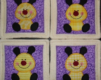 Primitive Whimsical Countr Baby BUMBLEBEES Bees Coasters Mug Mats Scatter Mats Hot Pads Trivets