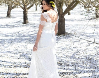Bohemian Wedding Dress Ivory French Lace with Silk Tulle Sash - design by Lace Sparkle Vintage