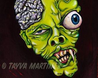 Grady monster head eyeball 8x10 canvas painting acrylic by Tayva