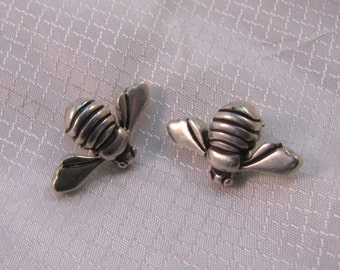 c1980's Sterling Bumble Bee Clip Earrings