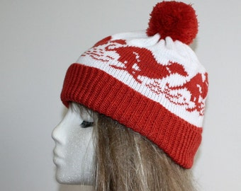 Rust brown and white running Greyhound or Whippet dog pompom bobble hat