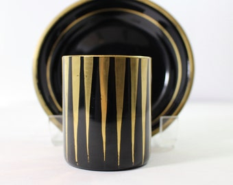 Black Opaline Cup and Bowl with gold accents