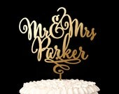 Mr and Mrs Cake Topper - Custom Cake Topper for Wedding Cake - Last Name - Daydream Collection