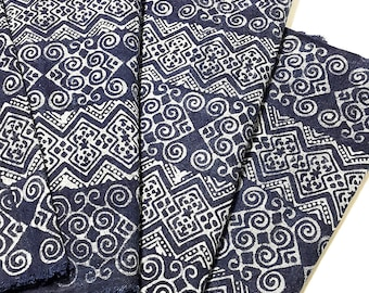 Thai Hand printed Fabric Natural Cotton Fabric by the yard Hmong Fabric Hill Tribe Fabric Vintage Fabric Batik Fabric Indigo HF11