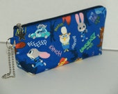 """Padded Zipper Pouch / Pencil Case with Gusset Made with Japanese Cotton Oxford Fabric """"Zootopia"""""""