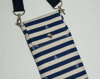 """2 Way Cell Phone Cross Body Bag / Hook Bag with 2 Exterior Pockets Made with Japanese Cotton Linen Fabric """"Nautical Stripe and Anchor"""""""