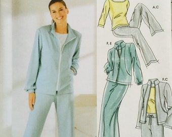 Simplicity 5867, Size 6-8-10-12, Misses' Pants or Shorts, Skirt, Jacket and Knit Top Pattern, UNCUT, Casual at Home, Comfy Clothes, 2002