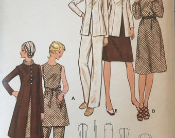 "Butterick 6092 Women's Dress, Jacket and Pants Pattern, UNCUT, Size 38, bust 42"", Lined Jacket, Tunic, Vintage, 1970's"