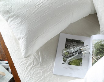 Pillow case 100% Linen Flax White color - Washed Softened - Housewife Standard Queen King Euro -  Ideal for HOT climate