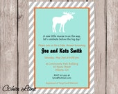 Printable Little Moose Baby Shower Invitation.  Moose Invitation.  Moose Birthday Party Invite.  Moose Baby Shower..