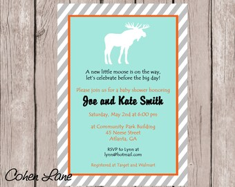 Printable Little Moose Baby Shower Invitation.  Moose Invitation.  Moose Birthday Party Invite.  Moose Baby Shower..