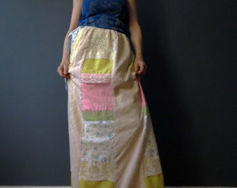 70s Patchwork Cotton Maxi Skirt Pastel Broderie Anglaise Small