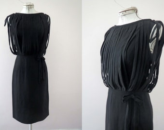 CLEARANCE Vintage 60s Black Lantern Rouleaux Bodice Shealth Wiggle Dress Small