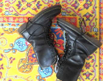 Doc Martens 14 Eye Tall Boots Dr Martens Combat Boots Black Leather Mens 7 Womens 8