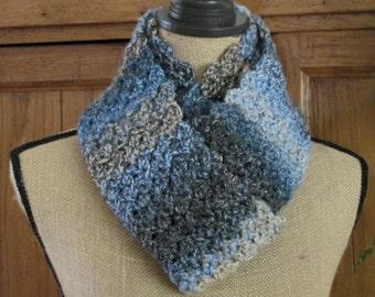 Crocheted Cowl Scarf Handmade from James C. Brett Marble Chunky Yarn Men or Women's Crocheted Multi Blue/Beige/Gray Soft Scalloped Scarf
