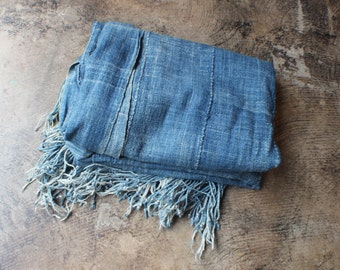 Indigo Textile / Vintage XL Cotton Fringed Wrap / African Indigo Shawl