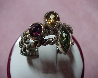 Three Vintage Gemstone Stack Rings, Peridot, Garnet, Citrine, 1.50CTW, Sterling Silver, Size 9
