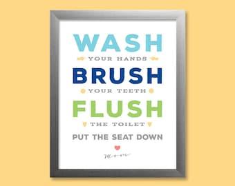 wash brush flush kids bathroom wall art kids rules bathroom decor bathroom rules bathroom print