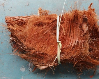 Palm Fiber Bundle Of Six Pieces Rustic Woven By Nature Rusty Colored Sheets Of Primitive Mixed Media Supplies