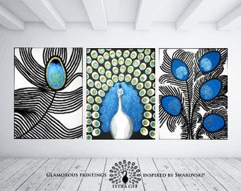 Swarovski® art. Swarovski® peacock painting with Swarovski® crystals. PROUD peacock wall art. Large wall art. Large wall decor Lydia Gee