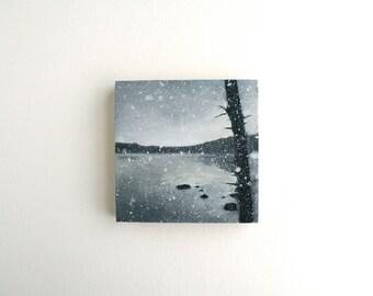 Winter Adirondack Lake - Black and White Oil Landscape Painting - 4 x 4