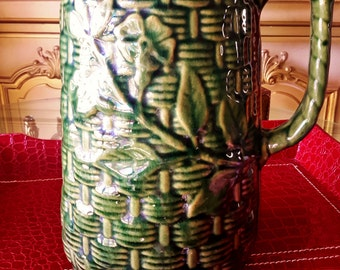 Brush McCoy Willow Ware ANTIQUE STONEWARE TANKARD 1916 Green With Basketweave Design Rare Collectible Pottery Usa Made