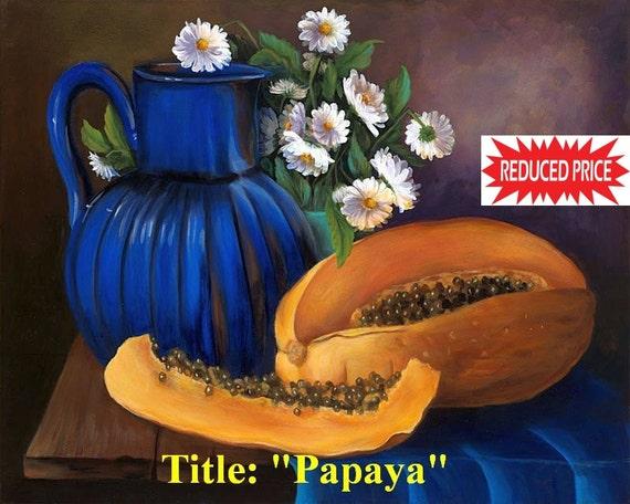 """On Sale!!  Oil paintings on canvas """"Papaya"""" 16""""x 24""""  ."""