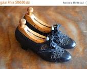 SALE / vintage 1930s shoes / 30s black leather art deco oxfords / size 5