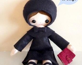 Catholic Toy Doll - St. Elizabeth Ann Seton - Wool Felt Blend - Catholic Toy - Felt Doll