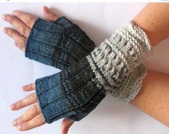 Fingerless Gloves Mittens wrist warmers Blue Green Black Gray Dove knit