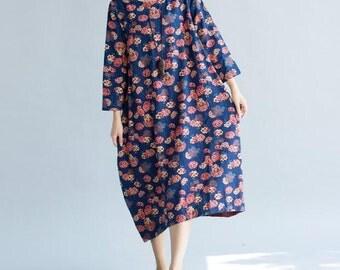 blue cotton and linen Asymmetric long loose dress Women Maxi dress