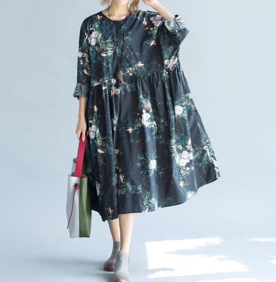 Women Loose fitting Long Autumn dress/ Long Maxi Dress/ Women Long Gown